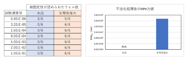 図1:猫伝染性腹膜炎ウイルス(FIPV)を用いた本試薬の感染能不活化効果の検討